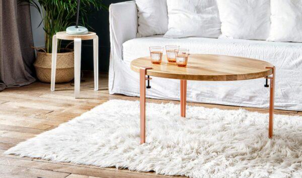 Table basse salon ronde tabouret chêne