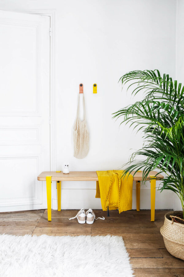 Porte-manteaux JO et banc d'entrée TIPTOE jaune