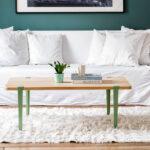 table basse TIPTOE en chêne massif pieds modulables vert
