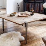 Table basse carree TIPTOE en bois massif et pieds 43cm acier brut