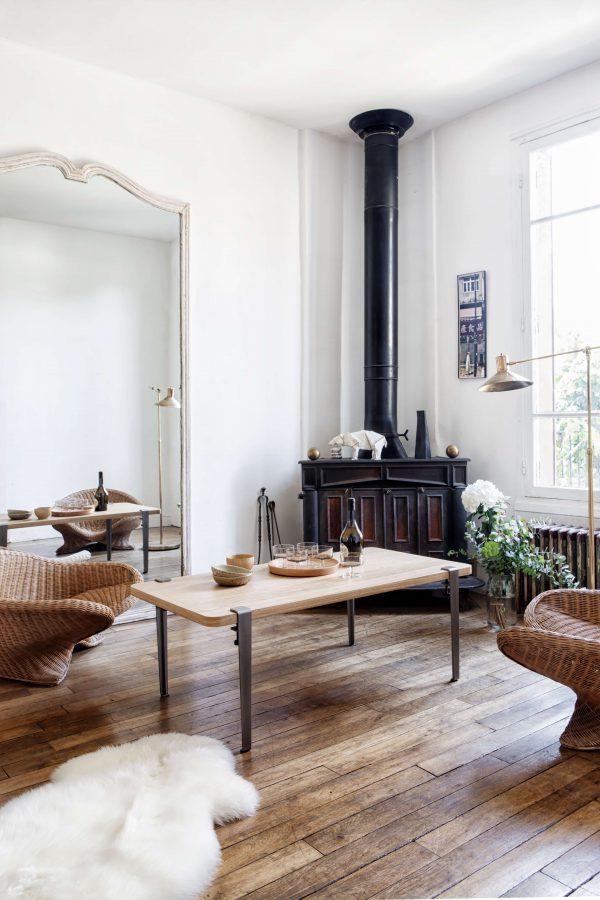 Table basse TIPTOE en chêne massif 120x60cm et pieds 43cm en acier brut