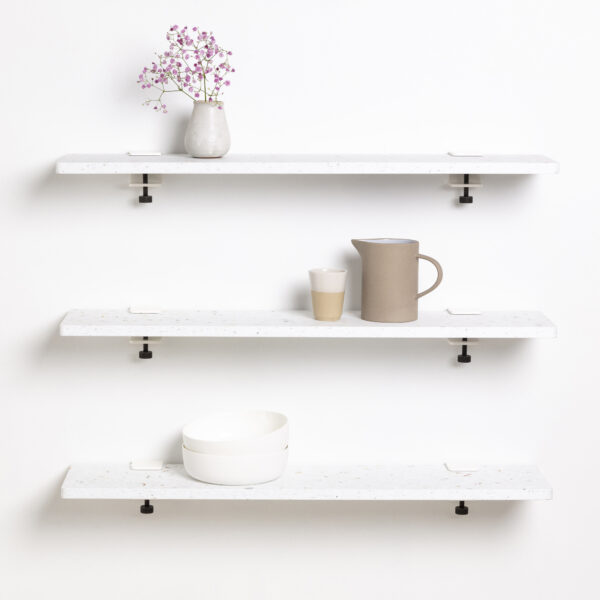 Bookshelf White Venezia in recycled plastic - 90x20cm