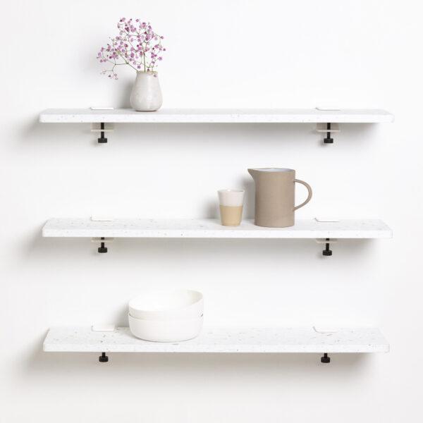 Bookshelf White Venezia in recycled plastic – 90x20cm