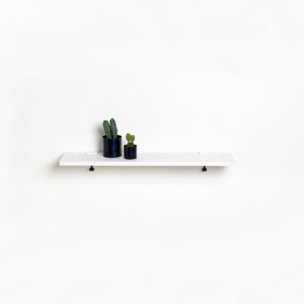 White Venezia shelf in recycled plastic - 90x20cm