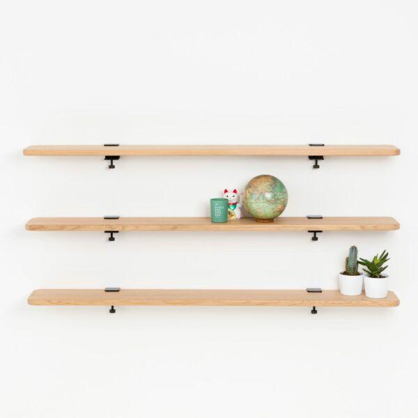 Solid oak bookshelf - 150x20cm