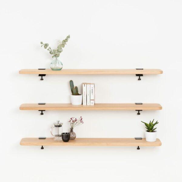 Solid oak bookshelf - 120x20cm