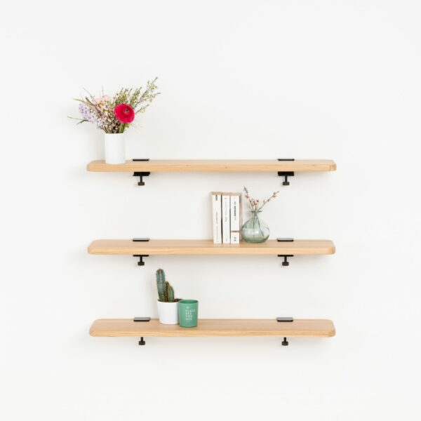 Solid oak bookshelf - 90x20cm