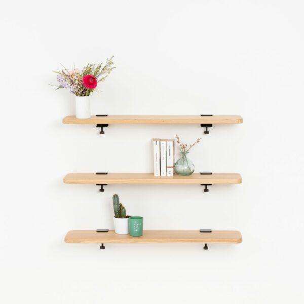 Solid oak bookshelf - 90x20cm