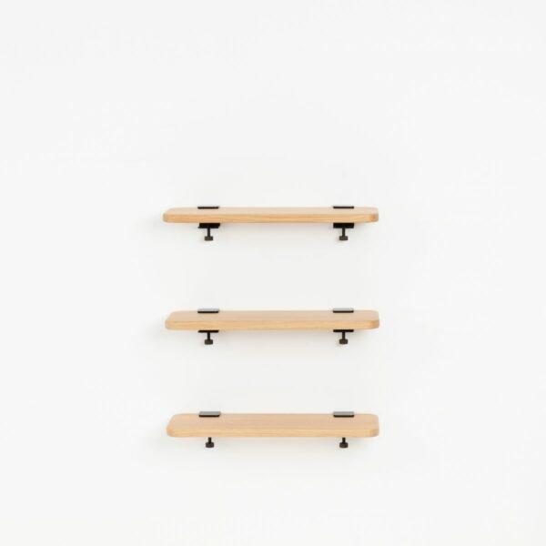Trio étagères murales chêne massif - 60x20cm