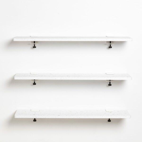 Trio étagères murales plastique recyclé Blanc Venezia - 90x20cm