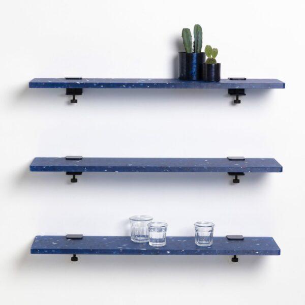 Trio étagères plastique recyclé Bleu Pacifico – 90x20cm