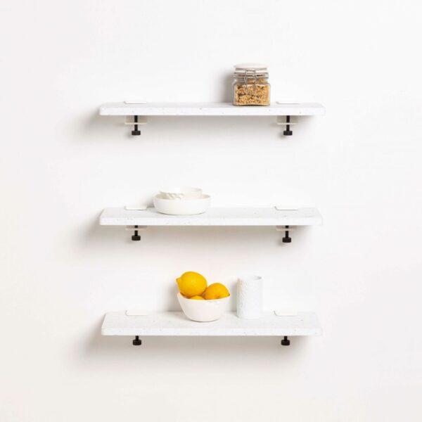 Trio étagères murales plastique recyclé Blanc Venezia – 60x20cm