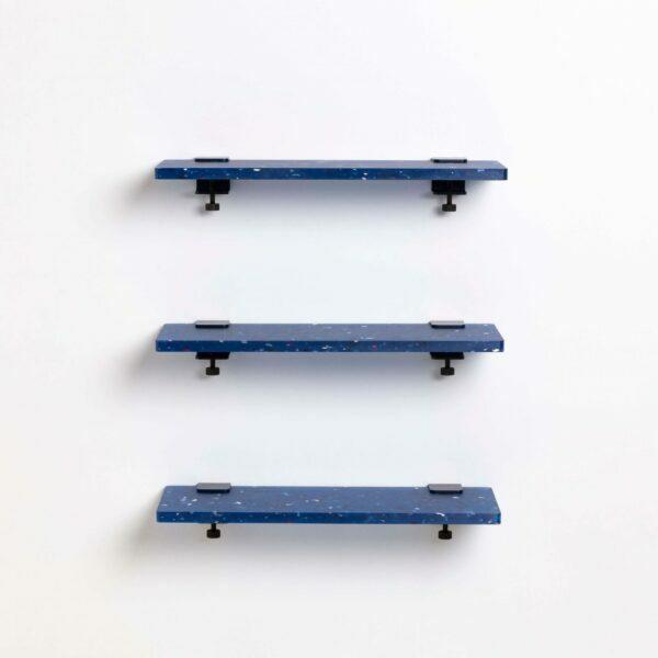 Trio étagères plastique recyclé Bleu Pacifico – 60x20cm