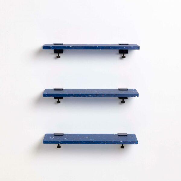 Trio étagères plastique recyclé Bleu Pacifico - 60x20cm
