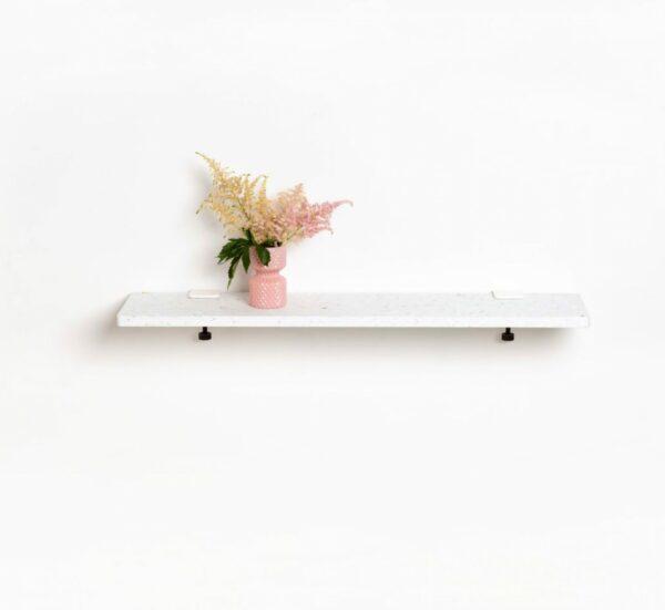 White Venezia shelf in recycled plastic – 90x20cm