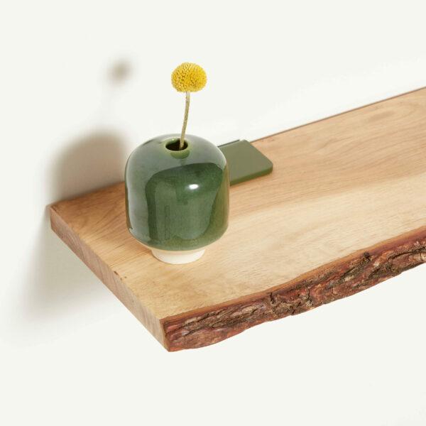 Etagère murale bois écorce et accroche murale vert