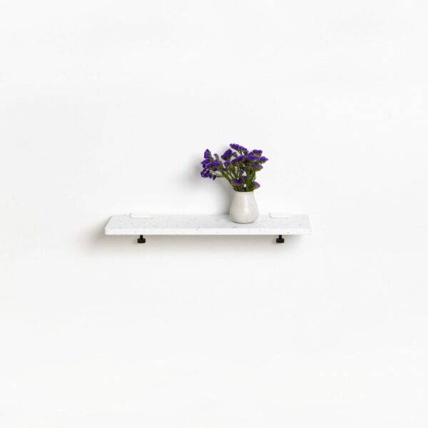 White Venezia shelf in recycled plastic - 60x20cm