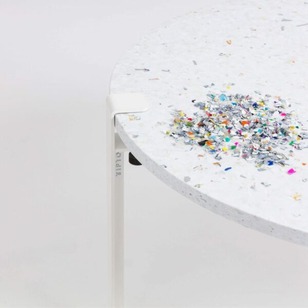 Table basse en plastique recyclé Venezia - Pied de table basse blanc