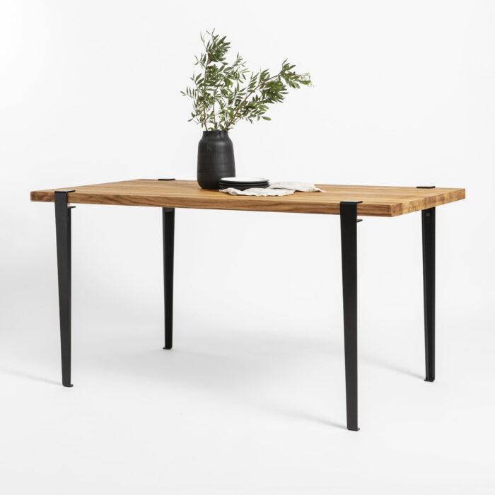 Reclaimed wood dining table with TIPTOE steel legs