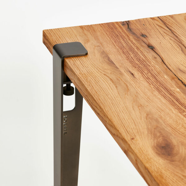 Steel leg for custom-made dining table or desk