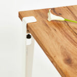 Pied de table à manger avec plateau unique en bois ancien TIPTOE