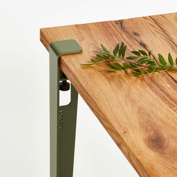 Plateau en bois ancien avec pied de table TIPTOE