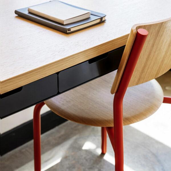 Chaise de bureau en chêne TIPTOE avec pieds en acier