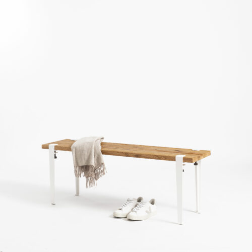 Bench with legs in white steel and reclaimed wood TIPTOE