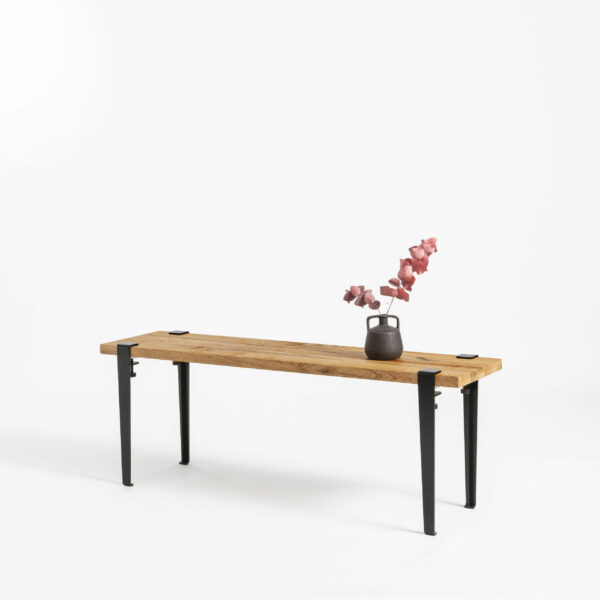 TIPTOE reclaimed wood bench with steel legs