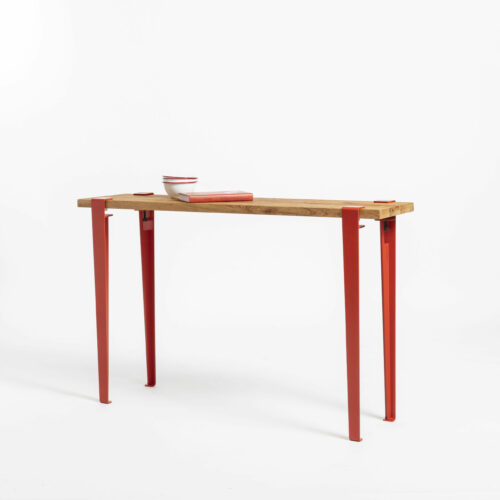 Console de salon en bois ancien recyclé et pieds rouge TIPTOE