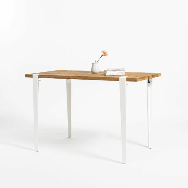 TIPTOE desk with reclaimed wood top and steel legs