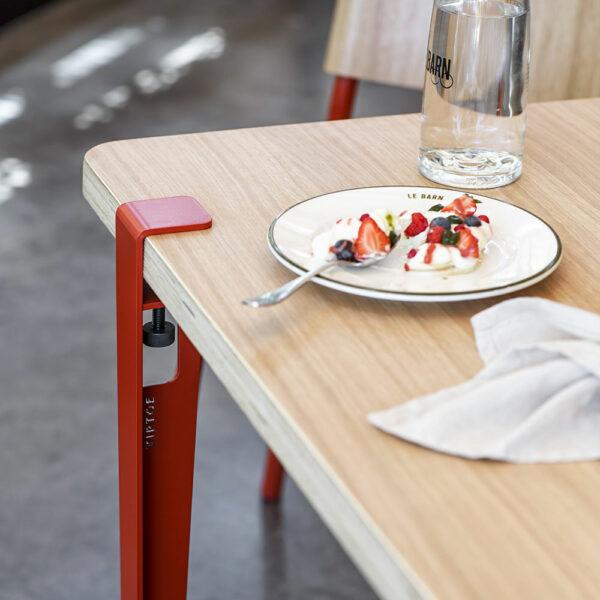 Pied de table et bureau en acier rouge TIPTOE