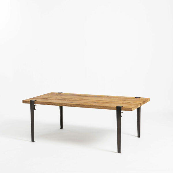 Reclaimed wood coffee table with steel legs for living room