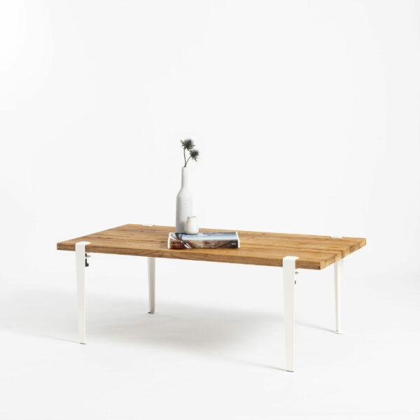 Old wood coffee table and white steel legs TIPTOE