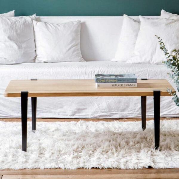 Table basse TIPTOE en bois avec pieds en acier noir