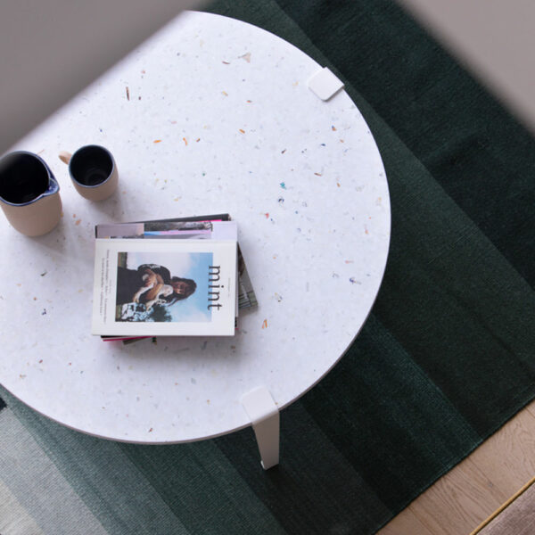 White recycled plastic coffee table with white steel legs