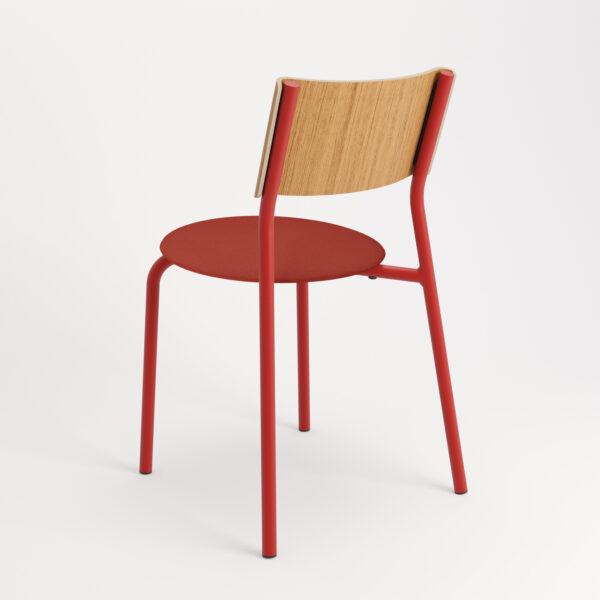 chaise tissu et textile rouge de dos