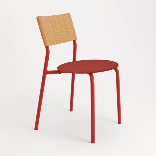 chaise tissu et textile rouge de face