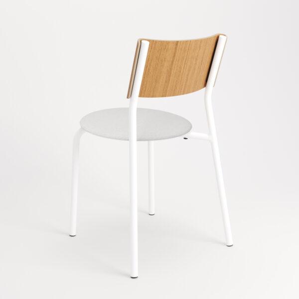 chaise tissu et textile blanc de dos