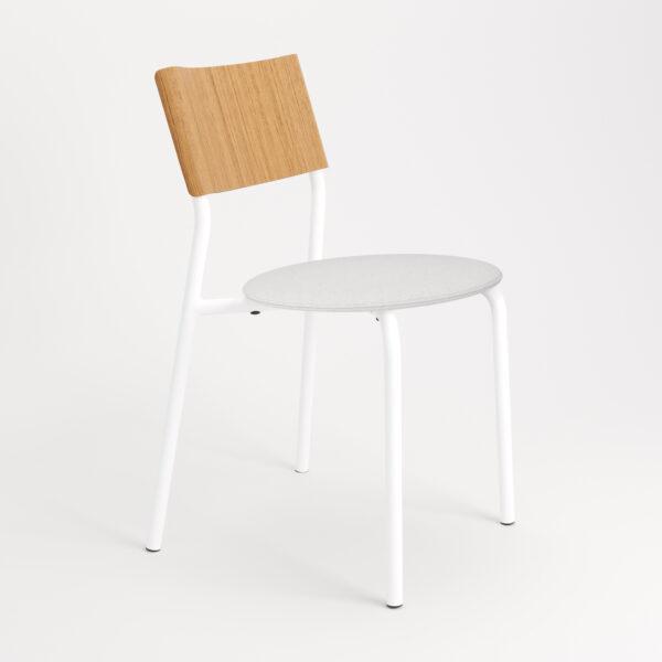 chaise tissu et textile blanc de face