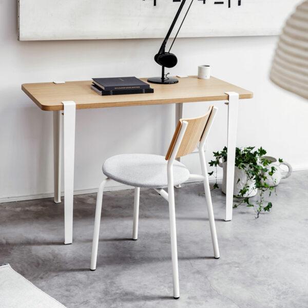 chaise tissu et bureau metal blanc