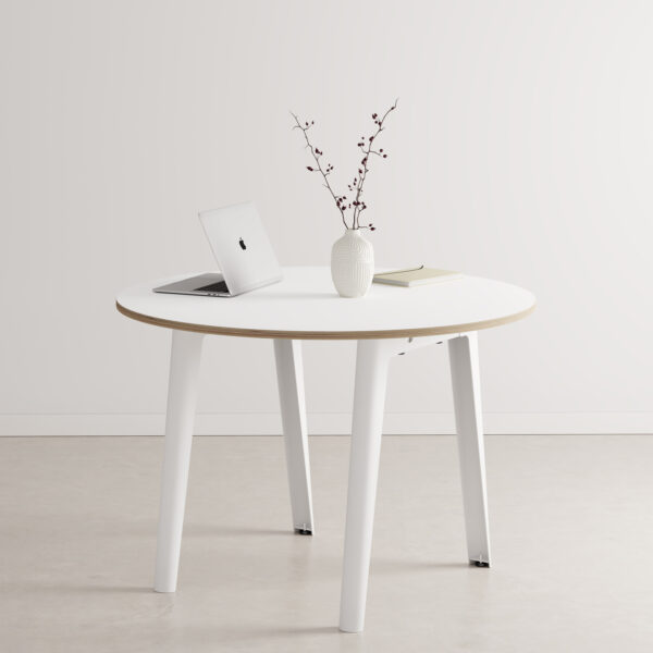 Table de réunion ronde NEW MODERN – multiplis blanc